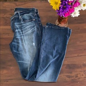 Express barely boot distressed jeans